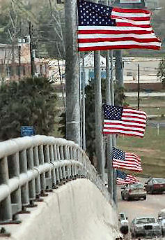 FLAGS ON THE kEMAH BRIDGE