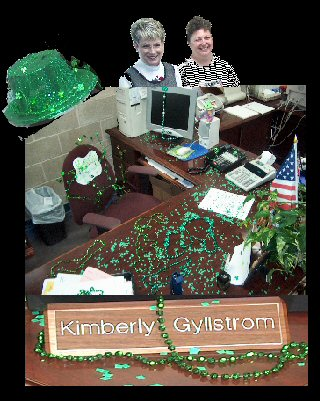 Kemah City Hall Plays a St Patric day trick on Kimberly by City Secretary Kathy Pierce and Susie Elam