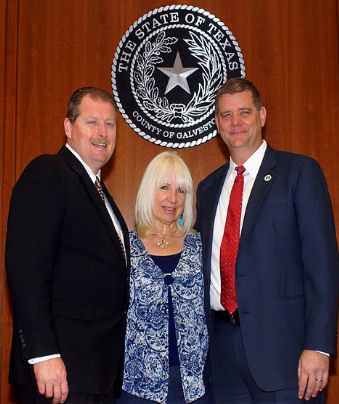 Shown here from left to right  -  Galveston County Commissioner. Ken Clark. Precinct 4 (includes Kemah), Claire Durkee Worthington, Kemah.Net and Galveston County Judge Mark Henry!