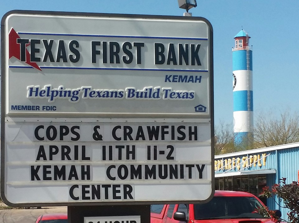On April 11, 2015 come show support for the Police Officers y'all!  The Annual Kemah Cops n' Crawfish is Saturday, April 11th, 2012  11a.m. - 2 p.m. @ Kemah Community Center. purchased Tickets  in advance at Sylvia's Cozy Corner or at Kemah City Hall $10  Crawfish, $5 BBQ Sandwich. Benefiting the Kemah Citizens  Alumni Association. Family Event - There will be Music, Silent  Auction, Bake Sale, $1 Hot Dogs and Free Face Painting  Kids! Show support for our Kemah Police Officers!